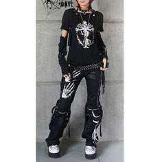 Trendy Mens Womens Goth Punk Rock Clothes Skeleton Pants Capris