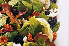 Mixed Greens Salad with Sugared Walnuts, Blackberries, and Feta - Martha Stewart