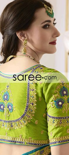 Green and Blue Georgette Saree with Lace