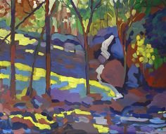acrylic painting | Stream and Rocks | Ugallery Online Art Gallery