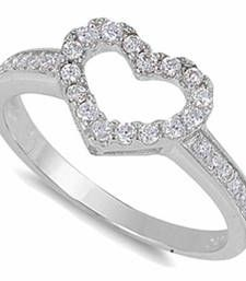 Buy Cara shining heart crystal studded made in sterling silver and swarovski stone ring for women Ring online