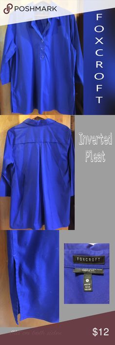 Blue Shirt Very Blue!!!  Stretchy Cotten button up shirt.  Nice and roomy. Wear with jeans or leggings.  Very nice condition Foxcroft Tops Button Down Shirts