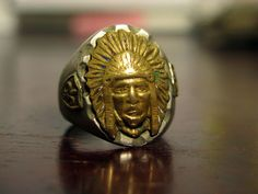 Vintage mexican biker ring. Indianhead