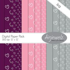 Doodle Hearts Paper Pack INSTANT DOWNLOAD purple pink silver grey scrapbooking cardmaking altered art love wedding valentine anniversary