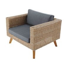Garden armchair in woven resin and anthracite canvas |  Houses of the world