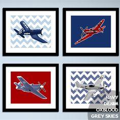 childrens wall art Boys airplane nursery art - WW 2, set of 4, vintage airplanes - art for boys wall art, boys nursery art. $45.00, via Etsy.