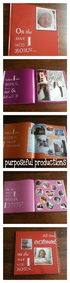 Purposeful Productions: DIY Baby Story Book! #Baby #BabyBook #PhotoBook #OnTheDayIWasBorn #DIY