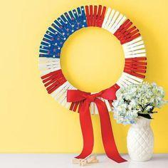 Great craft idea --> 12 Patriotic DIY Fourth of July Wreaths Patriotic Wreath, Patriotic Crafts, July Crafts, Summer Crafts, 4th Of July Wreath, Holiday Crafts, Holiday Fun, Crafts For Kids, Flag Wreath