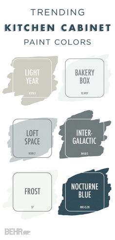 This collection of trending paint colors would look great on your kitchen cabinets. If you're looking for a light neutral color, try a fresh coat of Bakery Box, Light Year, or Frost. If you want a darker color that's a little moody, Intergalactic or Noctu Cabinet Paint Colors, Kitchen Paint Colors, Interior Paint Colors, Painting Kitchen Cabinets, Paint For Kitchen Cabinets, Kitchen Walls, Neutral Kitchen Colors, Bathroom Colors, Bathroom Cabinets