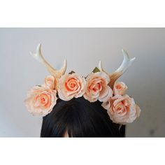 Faun Antlers Headband Delicate Pink Tea Rose Crown Deer Costume ($40) ❤ liked on Polyvore featuring costumes, deer halloween costume, pink halloween costumes, deer costume, pink costume and rose costume