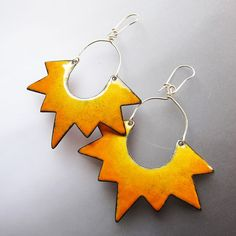 Yellow Sun Dangle Earrings, Big Statement Earrings, Geometric Enamel Jewelry, Bohemian One of a Kind
