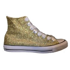 Women s Sparkly Glitter Converse All Stars Champagne Gold High Top Wedding  Bride Shoes Gold High Tops 50d35ef595a6