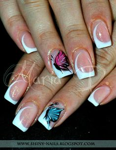 White Tip.. Butterfly Nails ❤