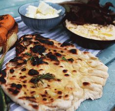 Smoky and the wood pit | Barbecue rosemary and garlic flatbreads with a vegetarian feast recipe