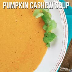 Pumpkin Cashew Soup:     1 Tbsp. Coconut Oil     1 small Onion, chopped     3 cloves Garlic, minced     half tsp. Turmeric and Paprika     1 can Organic Pumkin     1 1/2 cups Organic Chicken Broth     1 jar Roasted Red Peppers     1/3 cup Cashew Butter     1 tsp. Maple Syrup     1/2 tsp. Celtic Sea Salt and Black Pepper     1 Tbsp. Organic Lemon Juice     1/2 cup, Organic Coconut Milk For directions: http://draxe.com/recipe/pumpkin-cashew-soup/ #draxe #pumpkin #healthy #soup