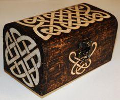 Celtic knot design trinket box, pyrography wood burning £25.00