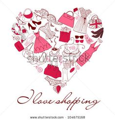 I love Shopping! A heart shape made of of different female fashion accessories. - stock vector id 104675168