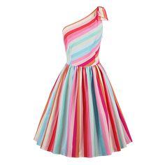 Sisjuly Summer 1950s Vintage Dresses Knee Length Women Multi Color Striped Dress 2017 Backless One Shoulder Bow Retro Dresses #Affiliate