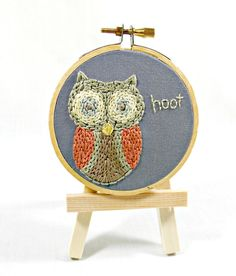 Price: Textured Owl Woodland Art With Mini Wooden Easel. Mini Hand Embroidery…