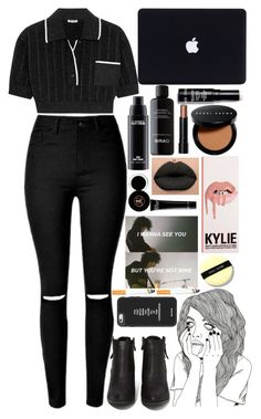 """⚫bASEd blACk⚫"" by niamtz on Polyvore featuring Miu Miu, N.Y.L.A., MAC Cosmetics, BRAD Biophotonic Skin Care and Bobbi Brown Cosmetics"