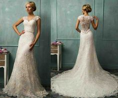 Lace Wedding Dress With Sleeves And Open Back