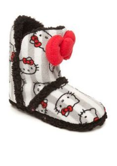 Hello Kitty slippers by Age Group  Gray Stripe Boot Slipper