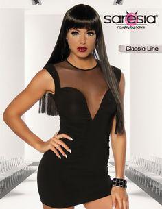 b4904fe564c9 Mini-Kleid schwarz mit transparentem Einsatz