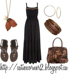 Black Maxi Dress, created by catiescorner on Polyvore