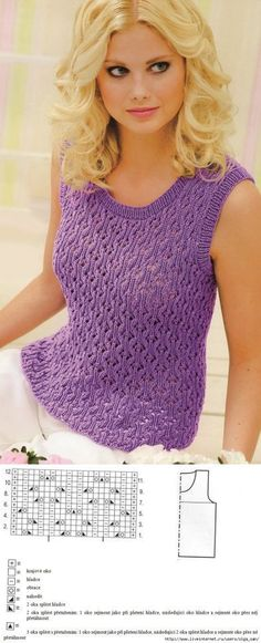knitting pattern bluse ...♥ Deniz ♥