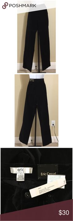 Eric Classic Fit Velvet Pants Size 8 eric Casual Women's Pants Size 8 Black Color Velvet Look & Feel Zip Front 1 External Metal Logo Button Closure 2 Front Pockets With Metal Rivets 1 Front Coin Pocket With Metal Rivets 2 Rear Pockets Belt Loops Classic Fit 97% Cotton 3% Spandex Inseam Approx. 33 Inches Rise Approx. 10.5 Inches Waist Approx. 32 Inches Hips Approx. 38 Inches Leg Opening Approx. 17 Inches MSRP $ 110.00 New With Tags eric Pants Straight Leg