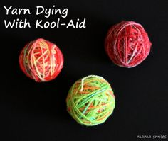 Did you know that you can dye yarn with sugar-free Kool-Aid? Wool works best in our experience, but other fibers can work as well. This a very colorful activity that my kids love!