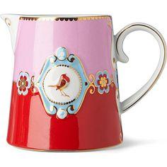LOVE BIRDS Love birds milk jug red⁄pink medallion