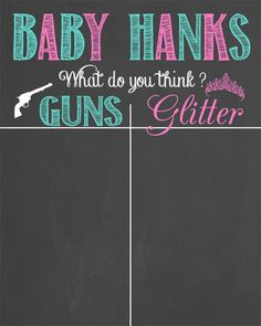 GUNS OR GLITTER ? This Gender prediction chalkboard is a cute accessory to you… Pistols or glitter ? This gender prediction chart is a cute accessory for your baby shower or neutral baby shower! Gender Prediction Chart, Pregnancy Gender Prediction, Gender Predictions, Gender Party, Baby Gender, Second Baby Announcements, Pregnancy Development, Glitter Gender Reveal, Pregnancy Calculator