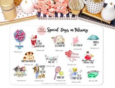 Special Days in February Wacky Holiday Stickers for by StiandCo February Special Days, Wacky Holidays, Calendar Stickers, National Days, Happiness Project, File Organization, Holiday Decorations, Happy Planner, Planners