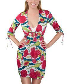 Look at this #zulilyfind! Fuchsia Piping Parrot Tie-Front Empire-Waist Dress #zulilyfinds