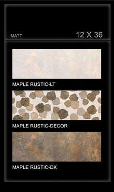 #Maple #Rustic - Millennium #Tiles 300x900mm (12x36) Digital Ceramic OCT Matt Large Format #WallTiles   - Maple Rustic LT   - Maple Rustic Decor   - Maple Rustic DK   - Digital Technology: For details, Digital printing technology in ceramic tiles enables us to print anything and everything onto the #tiles with unlimited & everlasting colours. Feel effect with punches, grooves & tappers. Unlike the limitation of same design on a number of tiles.