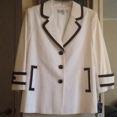 "Tahari White/Brown Suit Jacket. Size 14 NWT Tahari White Jacket with Brown Trim. NWT, Size 14.  Shell is 95% cotton & 5% spandex. Two front flat pockets. Square buttons, beautiful tortoise shell color.  This was originally part of suit, don't know where the pants are. Tag says ""Monika"".  I'm selling this for my mother, who is a smoker. However, I am not a smoker, and I do not smell an odor.  Original price was $320. Spare button is still attached with price tag. Price is negotiable…"