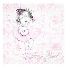 Blank Girl Baby Shower Invitations