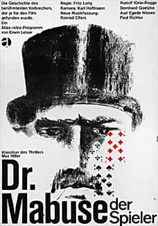 Dr Mabuse, The Gambler (Fritz Lang, 1922), Lang's crime epic deals with the eponymous doctor of psychology and master of disguise who terrorises Berlin, with only one cop brave enough to pursue him. Find this at 791.43743 DRM