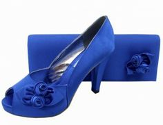 Royal Blue Satin Platform Ladies Shoe    #eveningShoes #WeddingShoes #Heels