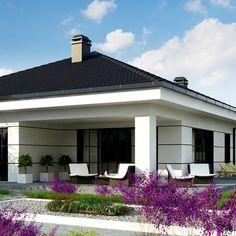 Z443 to wyjątkowy dom z kategorii projekty domów parterowych Bungalow House Design, Small House Design, Dream Home Design, Home Design Plans, Modern Family House, Modern House Plans, Modern Architecture House, Architecture Design, Exterior Wall Tiles