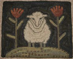 Primitive, folk art, wool rug.  Might use this as an idea for locker hooking.
