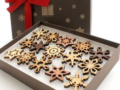 Mini Wooden Snowflake Ornament Gift Box. Rustic Handmade Designs Laser Cut from Sustainable Harvest Wisconsin woods.