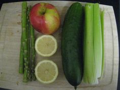 Gonna have to try: CLEANSING GREEN LEMONADE.  Juice 1 apple, 1 lemon, 1 cucumber, 1 stalk of celery, 4 asparagus and 4 leaves of kale(not pictured). This is great cleansing juice, taste great, full of vitamins, enzymes. Combine with lemonade juice(other pin) and you will start to LOOSE POUNDS like crazy :). Another beauty recipe (spa facials) at www.hotbeautyreviews.com