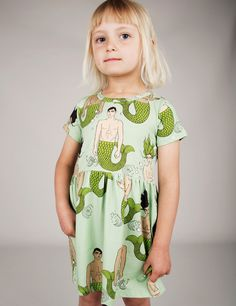 MERMIES PRINT DRESS GREEN
