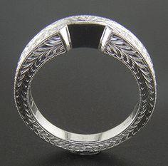 Wedding Band Engraved Patterns | Platinum Art Deco Style Engraved Contoured Wedding Band