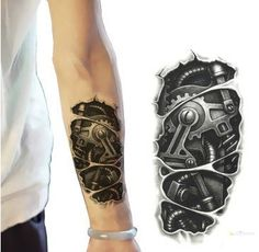 3D mechanical arm temporary tattoo stickers by lovetatoo on Etsy, $11.50