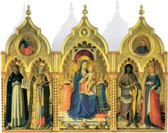 Fra Angelico's (Italian, active 1417–1455) majestic Guidalotti Altarpiece, portraying the Madonna and Child surrounded by angels and flanked by saints Dominic, Nicholas of Bari, John the Baptist, and Catherine of Alexandria, is reproduced in this die-cut card, which also features the work's ornately carved and gilded frame. Greeting: Joy to the World.    Produced in cooperation with the Galleria Nazionale Dell'Umbria, Perugia.    20 die-cut cards and 20 envelopes. 4 7/8'' x 6 1/4''.