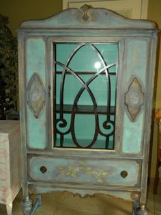 Vintage Painted China Cabinet by chicretiques on Etsy, $275.00