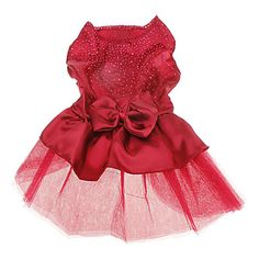 Dog Dress Red / Blue Dog Clothes Summer Solid / Sequins Wedding / Holiday - USD $ 5.99
